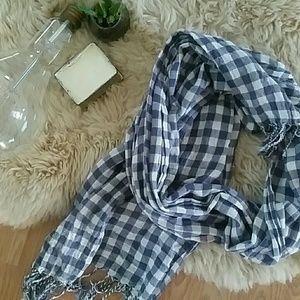 Cotton gingham plaid scarf